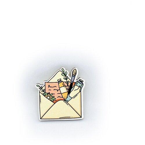 Значок деревянный PaperFox Конверт и цветы. Бижутерия пин, брошь женская, детская для девочки, детям. Милый подарок другу, маме, подруге, на день рождения девушке, парню, любимому мужу, детский сувенир, коллеге, холст краски художнику. Бежевый. 43Х40мм