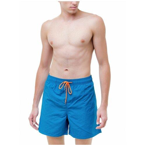 Плавательные шорты мужские однотонные , шорты с сеткой внутри, голубой цвет, размер M