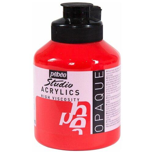Краска акриловая PEBEO Studio Acrylics, 500 мл, цвет: кадмий красный, арт. 171033 краска акриловая pebeo studio acrylics сиена натуральная 500 мл