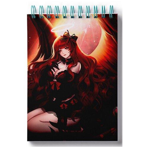Блокнот для записей, листы в клетку Пазл магнитный аниме демоны, девушка на коленях, копна волос фигура девушка на коленях золото 10х6х15см 3928137