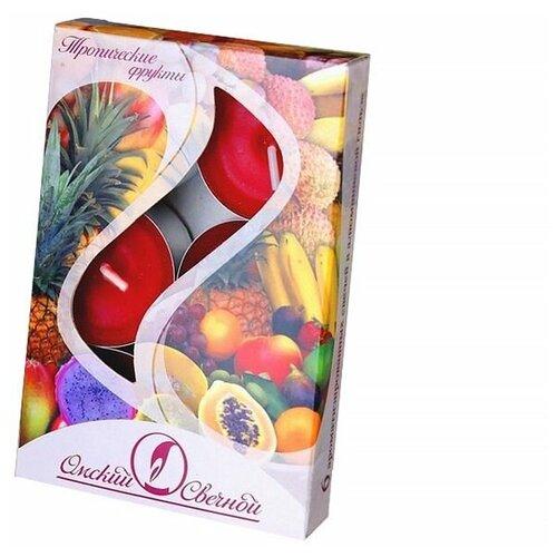 Набор ароматических свечей тропические фрукты, 3.8х1.6 см (упаковка 6 шт.), Омский Свечной 001830-свеча
