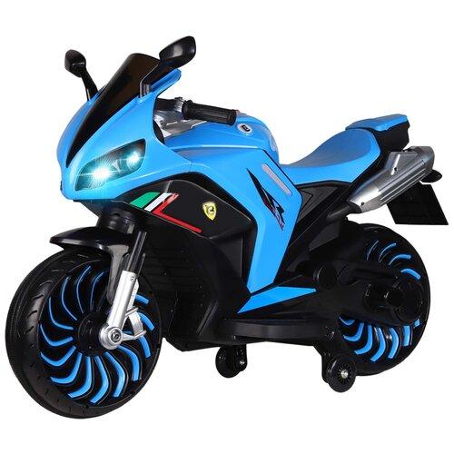 Электромобиль с функцией водяного пара TM CITY-RIDE, машина детская на аккумуляторе, машинка для малышей, для детей, Мотоцикл на аккумуляторе двухколесный, страховочные колеса, электромотоцикл, 12V7AH, 2*540W, MP3,USB, размер 130х51х81см, цвет - голубой