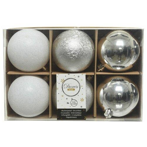 Фото - Набор пластиковых шаров New Year MIX серебряный/белый, 80 мм, упаковка 6 шт., Kaemingk 023570 набор пластиковых шаров new year mix красный бордовый 60 мм упаковка 12 шт kaemingk 023573