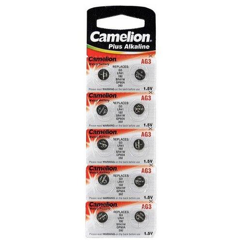 Фото - Батарейка для часов Camelion G3 392A-LR41-192 1.55V, в блистере 10шт. батарейка gp alkaline 192 g3 lr41 алкалиновая 1 шт в блистере отрывной блок 192 2cy 4891199015533