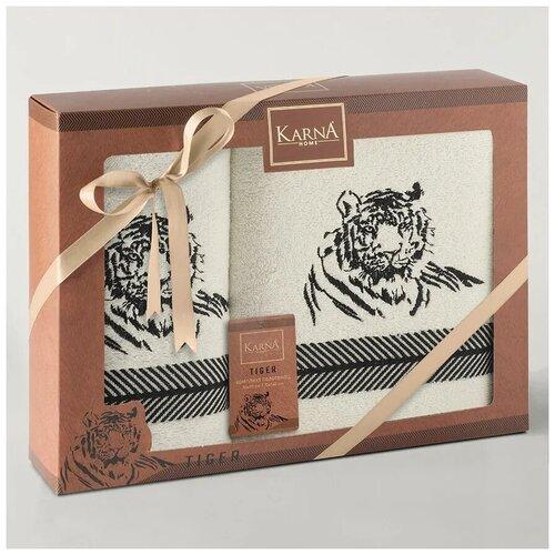 Комплект махровых полотенец Karna TIGER 50х90 и 70х140 см - Кремовый недорого