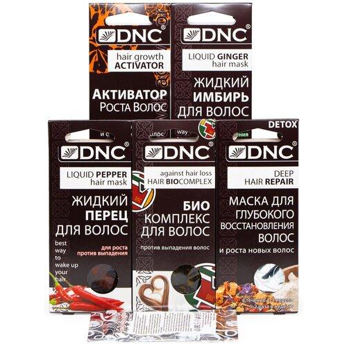 Купить DNC Набор: Биоактивный комплекс против выпадения волос (3 по 15 мл) 1 шт, Жидкий перец для волос (3 по 15 мл) 1 шт, Жидкий Имбирь для волос (3 по 15 мл) 1 шт, Активатор роста Для тонких и окрашенных волос (3 по 15 мл) 1 шт, Маска для глубокого восстановления волос (3 по 15 мл) 1 шт и Презент Филлер для волос