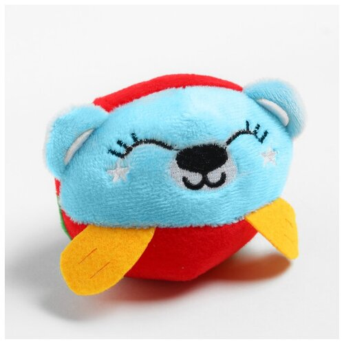Крошка Я Развивающая, мягкая игрушка - мячик «Мишка», с погремушкой, в сумочке