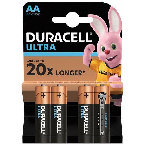 Батарейки комплект 4 шт., DURACELL Ultra, AA (LR06, 15А), алкалиновые, пальчиковые, блистер