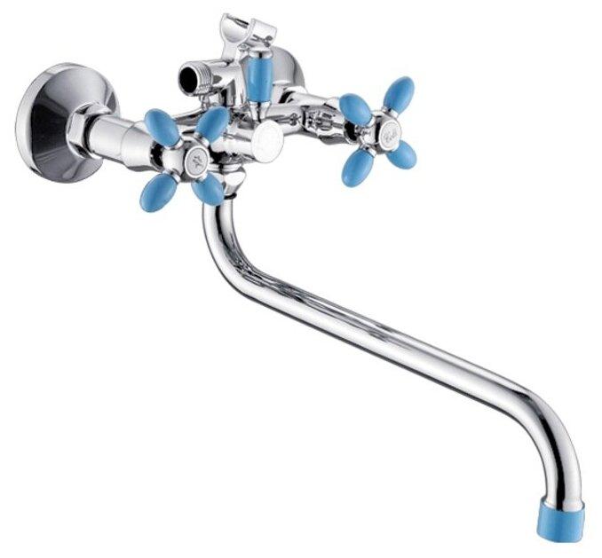 ЭВЕРЕСТ В22-071D, Смеситель для ванны (покрытие хром/синий, поворотный переключатель для душа, круглый поворотный излив) — купить по выгодной цене на Яндекс.Маркете