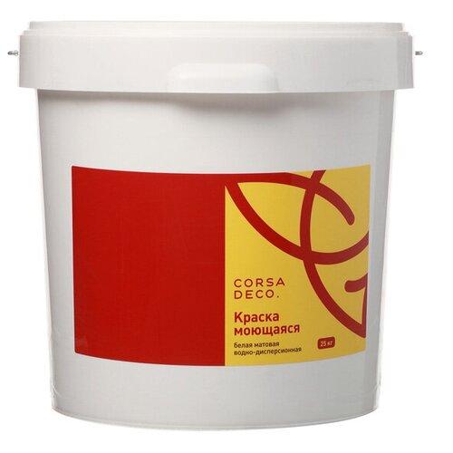 Краска акриловая Corsa Deco для стен и потолков влагостойкая моющаяся матовая белый 25 кг