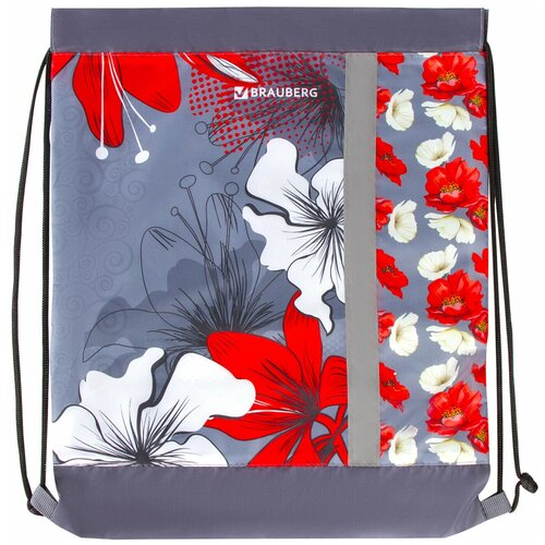 brauberg сумка для обуви flamingo 229174 синий BRAUBERG Сумка для обуви Цветы (228124) серый/красный