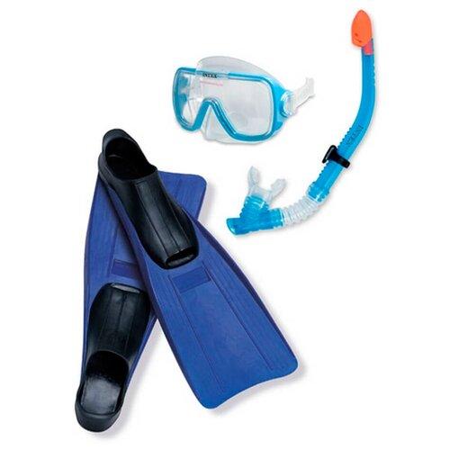 аксессуары для плавания intex плавательный набор маска трубка аква Набор маска + трубка + ласты Intex Wive Rider Set 55958