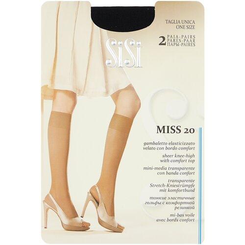 Капроновые гольфы Sisi Miss 20 den New, 2 пары, размер 0 ( one size), nero