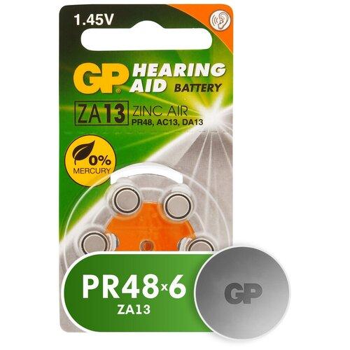 Фото - Батарейка GP Hearing Aid ZA13, 6 шт. контактные линзы alcon air optix aqua 6 шт r 8 6 d 01 00