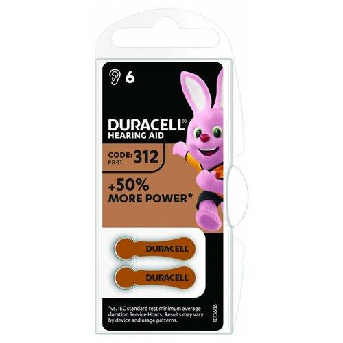 Фото - Батарейка Duracell ActiveAir 312/PR41, 6 шт. батарейки duracell activeair nugget box za675 da675 6bl