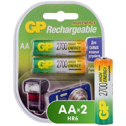 Фото - Аккумулятор Ni-Mh 2700 мА·ч GP Rechargeable 2700 Series AA, 2 шт. аккумулятор ni mh 950 ма·ч gp rechargeable 1000 series aaa 6 шт