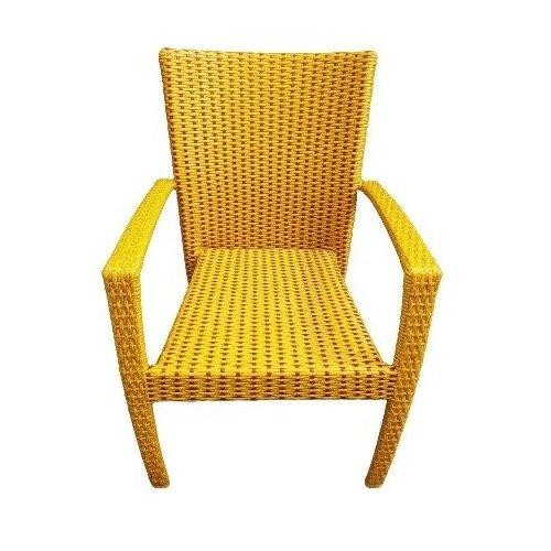 Кресло Лаос, плетеное из искусственного ротанга, 2-х цветный (ива/красное дерево)