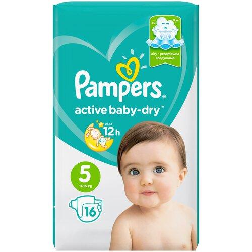Купить Pampers подгузники Active Baby-Dry 5 (11-16 кг), 16 шт., Подгузники