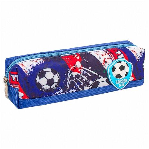Пенал Юнландия 1 отделение, полиэстер, Football, синий, 19*4*6 см (270270) недорого