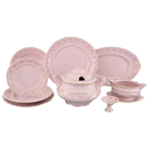 Сервиз столовый Соната Розовая нить, на 6 персон, 25 пр., розовый фарфор, Leander