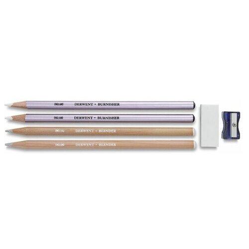 Купить Набор карандашей для смешивания цветов и полировки, 4 шт., Derwent, Цветные карандаши