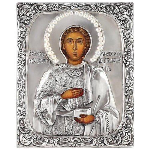 Икона Святой Пантелеимон (посеребрённый оклад с жемчугом), 13.5х17 см