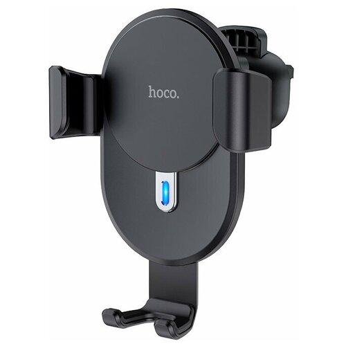 Держатель автомобильный HOCO, CW25, Delight, пластик, воздуховод, шарнир, блок питания авто+кабель micro USB, беспроводная зарядка Qi, цвет: чёрный