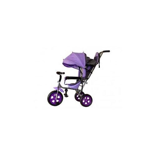 Велосипед детский трехколесный с родительской ручкой Liga PC надувные колеса (фиолетовый), Stiony, Трехколесные велосипеды  - купить со скидкой