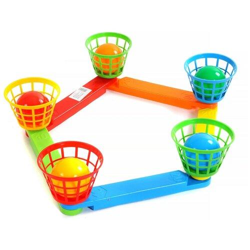 Купить Кольцеброс с корзинами, 5 мячиков, 5 корзин, Poltoys, Спортивные игры и игрушки
