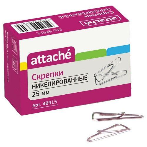 Купить Скрепки Attache, 25, никелевое, треугольная, 100 шт (серебристый), Скрепки, кнопки