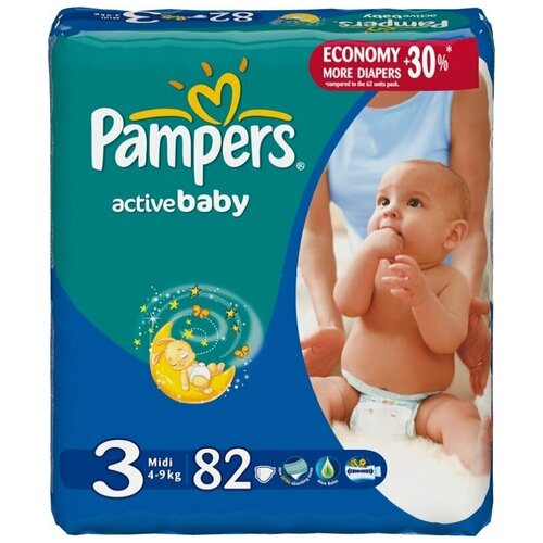 Фото - Pampers подгузники Active Baby 3 (4-9 кг), 82 шт. skippy подгузники econom 3 4 9 кг 56 шт