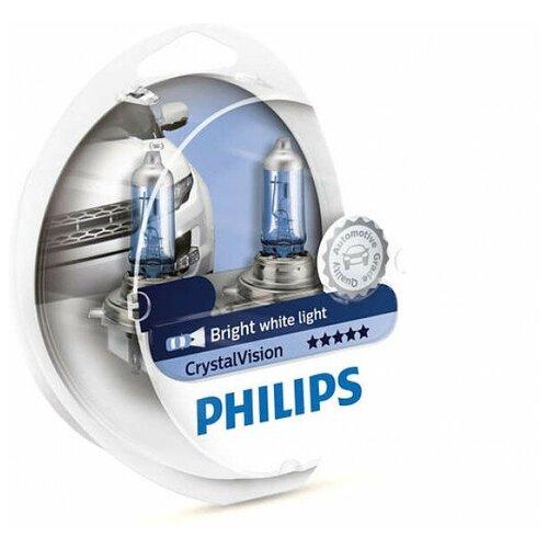 Лампа галогенная PHILIPS H11 Crystal Vision 12V 55W, 2 шт.+ W5W 2 шт.