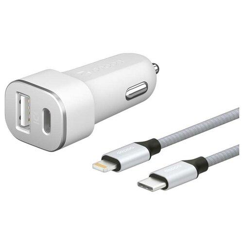 Зарядное устройство Deppa USB A + USB Type-C QC 3.0 Power Delivery 18W + кабель USB-C - Lightning MFI Ultra White 11292 сзу deppa usb type c power delivery 18вт дата кабель usb c lightning mfi белый