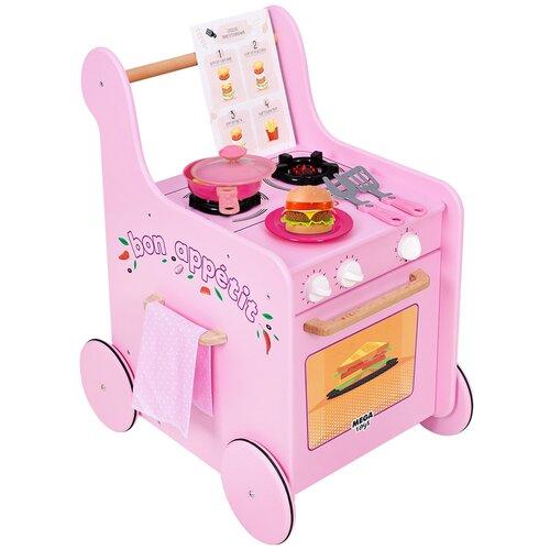 Игровой центр деревянная кухня детская игровая для девочек Мега Тойс Grill Master игровой комплекс / ходунки детские / каталка детская с ручкой / тележка детская