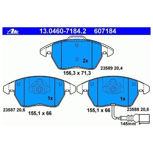 Дисковые тормозные колодки передние ATE 13-0460-7184-2 для Audi, Volkswagen, SEAT, Skoda (4 шт.)