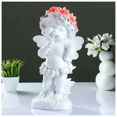 Фигура Ангел в цветах 43х22см фигура малышка ангел белая 25х12х12см 4786376