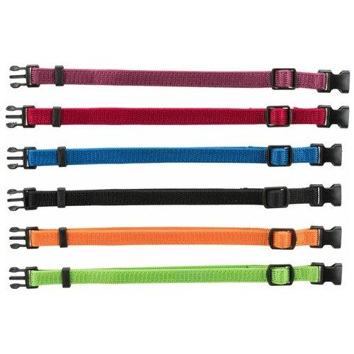 Ошейники для щенков, набор из 6 шт, M-L: 22-35 см/10 мм, красн, зел, желтый, фиол, синий, черн, Trixie (товары для животных, 15555)