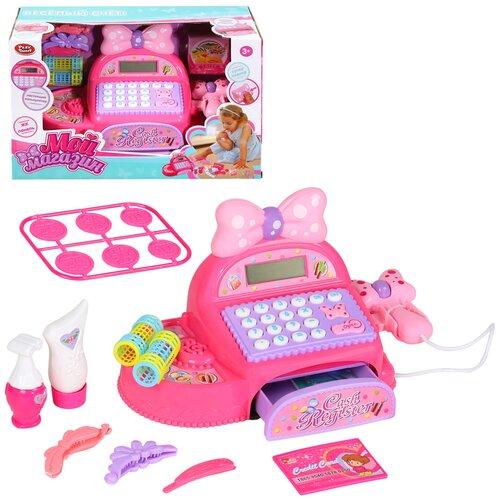 Купить Игровой набор детский Касса , касса с игрушечным калькулятором, сканер, на батарейках, свет, звук, для девочек, для детей, развивающая обучающая игрушка, для игры в кассира, для игры в магазин, для игры в продавца, игрушечные товары, кредитная карта, цвет розовый, 28x18x18см, Play Smart, Играем в магазин