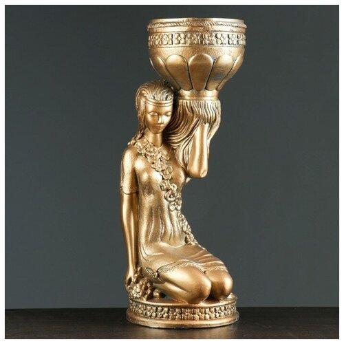 Фигура Девушка сидя кашпо на плече бронза 58см 302969 фигура девушка сидя кашпо на плече бронза 58см 302969