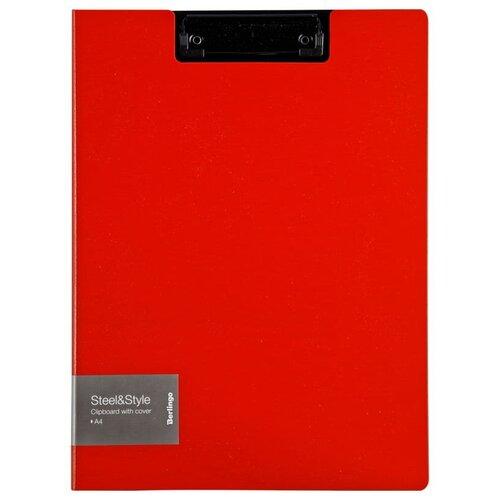 Berlingo Папка-планшет с зажимом с крышкой Steel&Style A4, пластик красный