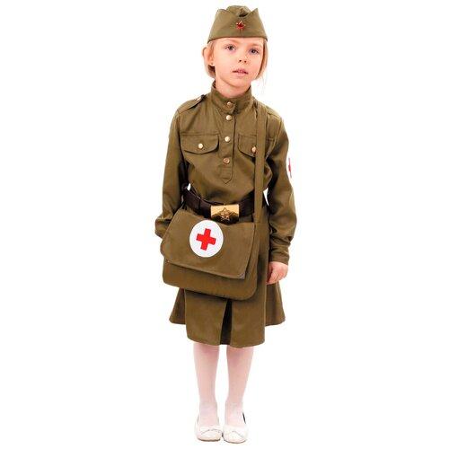 Купить Костюм пуговка Военная медсестра (2038 к-18), хаки, размер 110, Карнавальные костюмы