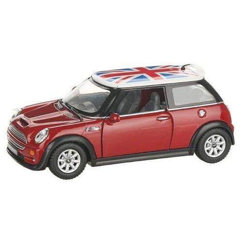 Купить Легковой автомобиль Serinity Toys Mini Cooper S с флагом (5059DFKT) 1:28, 12.5 см, красный, Машинки и техника