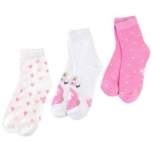 Купить Носки Kaftan Фламинго комплект 3 пары размер 18-20, белый/розовый