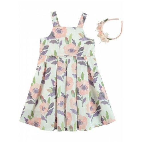 платье для девочки acoola pomelo цвет голубой 20220200368 400 размер 104 Платье для девочки с ободком Monna Rosa Цветы розовое, размер 98-104
