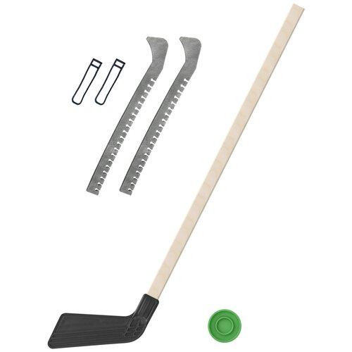 Набор зимний: Клюшка хоккейная чёрная 80 см.+шайба + Чехлы для коньков серые, Задира-плюс