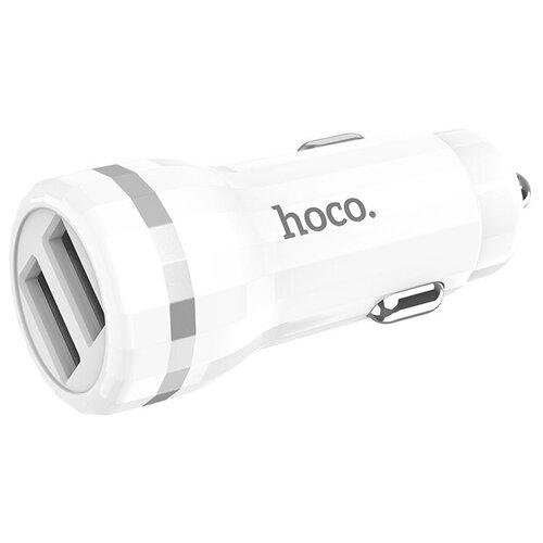 Блок питания автомобильный 2 USB HOCO, Z27, Staunch, 2400mA, пластик, цвет белый