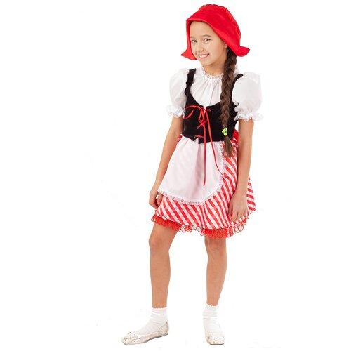 Купить Костюм пуговка Красная Шапочка (2001 к-18), белый/красный/черный, размер 110, Карнавальные костюмы