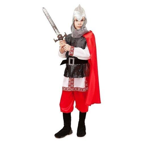 Купить Костюм пуговка Богатырь (2027 к-18), красный/серебристый, размер 140, Карнавальные костюмы
