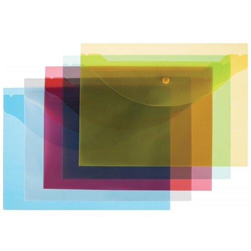 Купить Папка-конверт на кнопке А4 Attache цвет в ассортименте 120 мкм 10 шт/уп, 2 уп, Файлы и папки