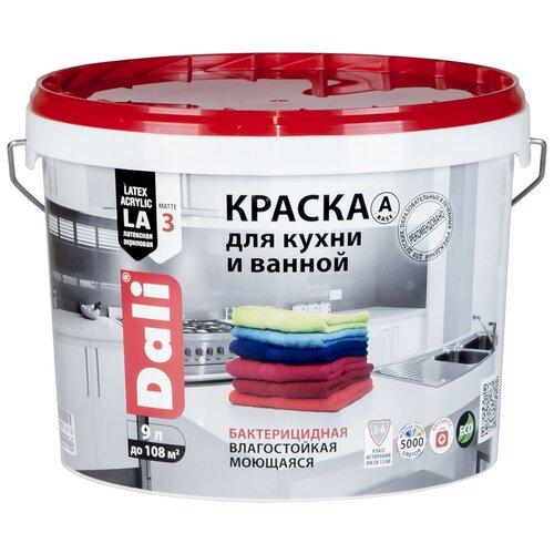 Фото - Краска акриловая DALI для кухни и ванной влагостойкая моющаяся матовая белый 9 л краска акриловая dali для кухни и ванной влагостойкая моющаяся матовая белый 5 л